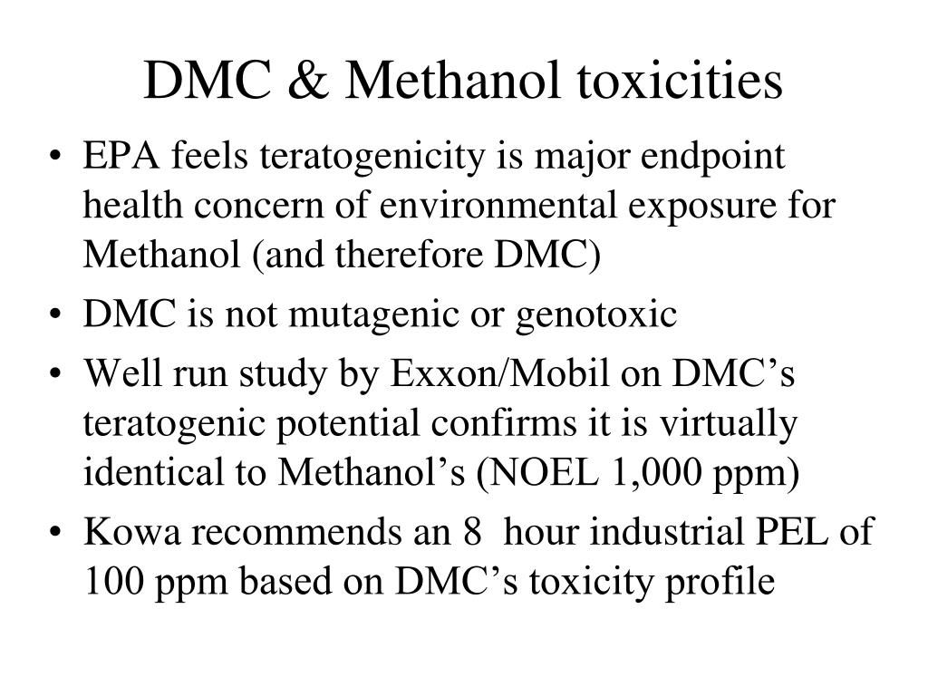 DMC & Methanol toxicities