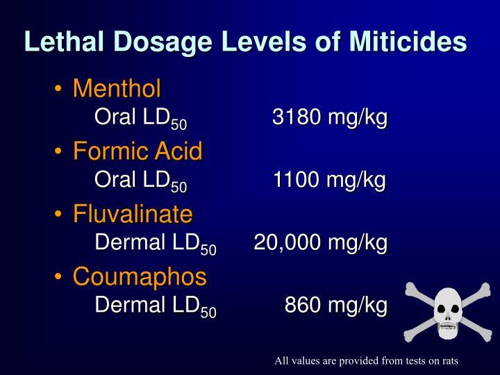 Lethal Dosage Levels of Miticides