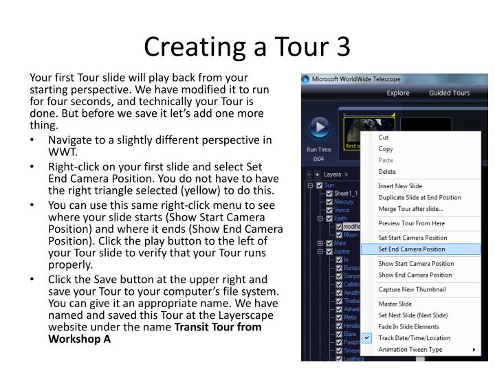 Creating a Tour 3