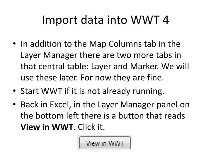 Import data into WWT 4