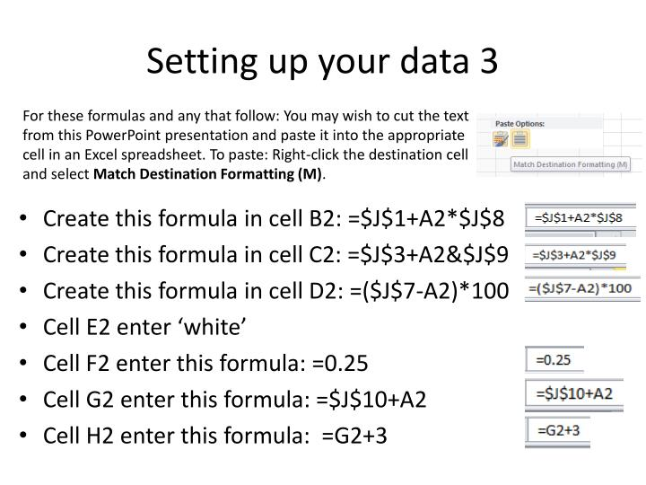 Setting up your data 3