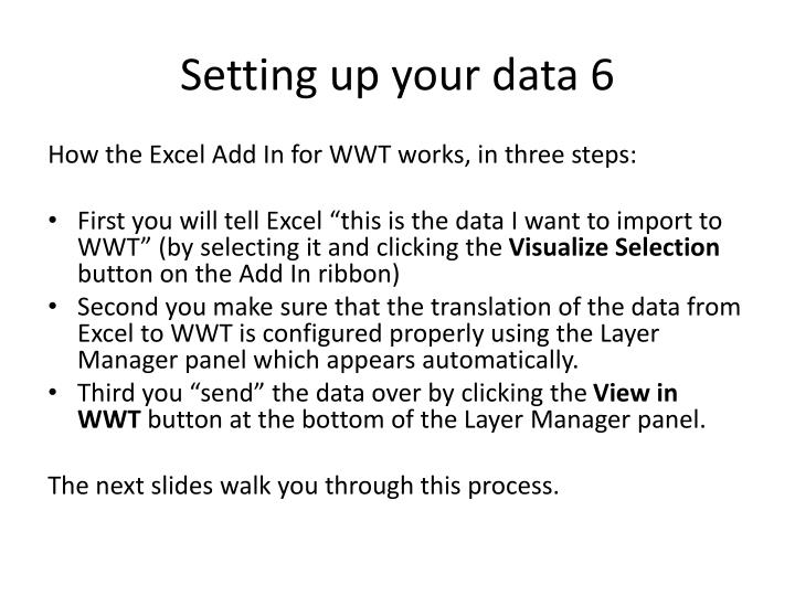 Setting up your data