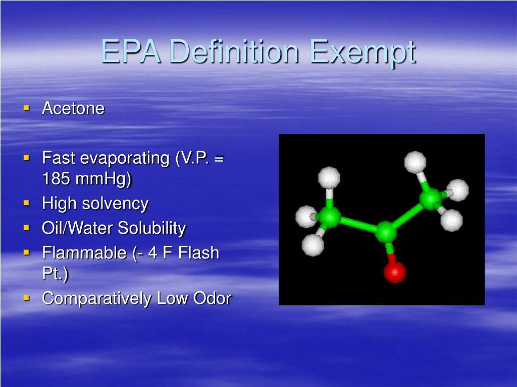 EPA Definition Exempt