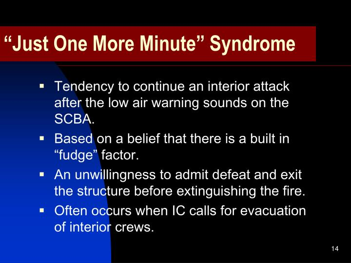 """Just One More Minute"" Syndrome"