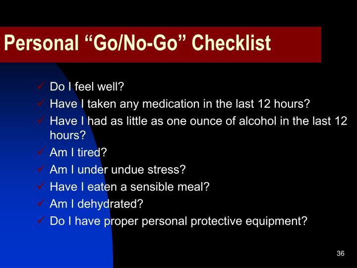 """Personal """"Go/No-Go"""" Checklist"""