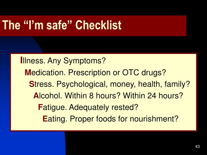 "The ""I'm safe"" Checklist"