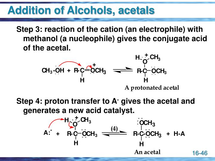 Addition of Alcohols, acetals