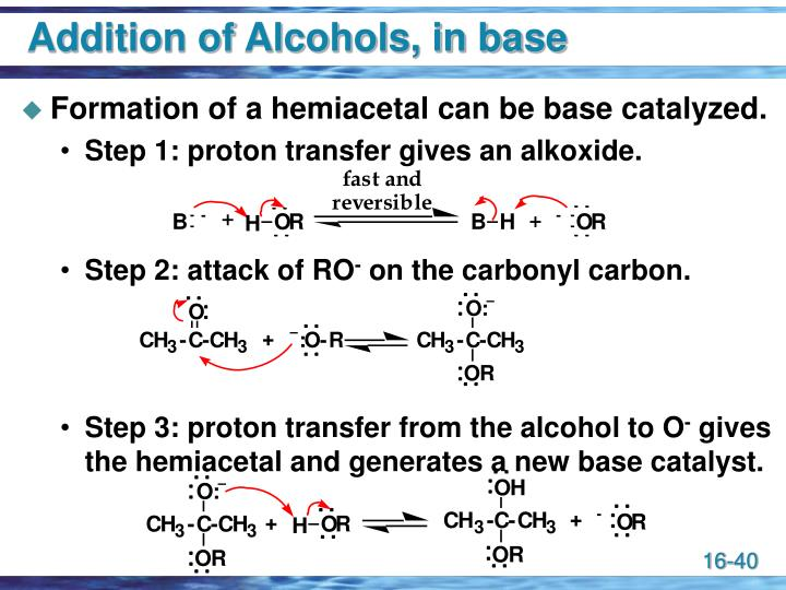 Addition of Alcohols, in base