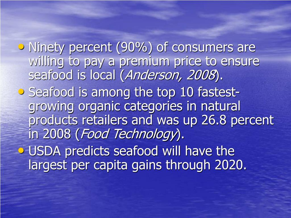 Ninety percent (90%) of consumers are willing to pay a premium price to ensure seafood is local (