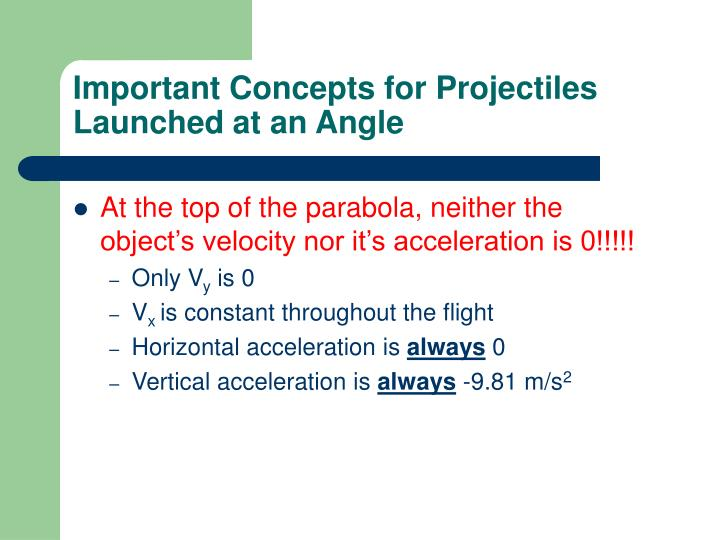 Important Concepts for Projectiles Launched at an Angle