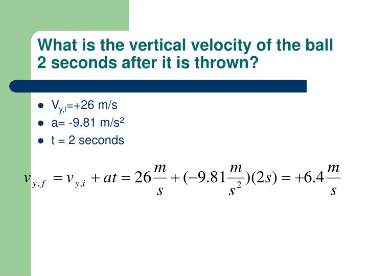 What is the vertical velocity of the ball 2 seconds after it is thrown?