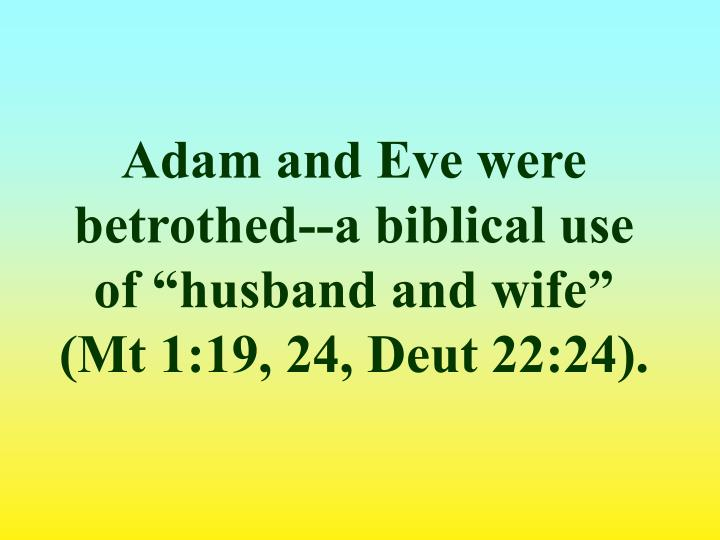 "Adam and Eve were betrothed--a biblical use of ""husband and wife"" (Mt 1:19, 24, Deut 22:24)."