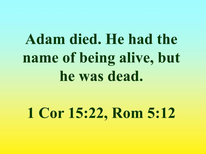 Adam died. He had the name of being alive, but he was dead.