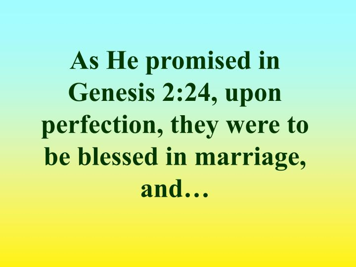 As He promised in Genesis 2:24, upon perfection, they were to be blessed in marriage, and…