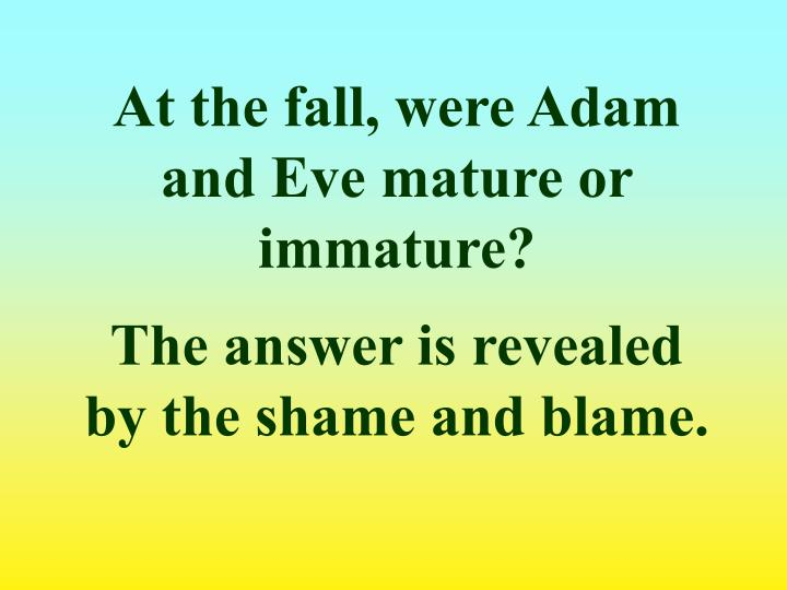 At the fall, were Adam and Eve mature or immature?