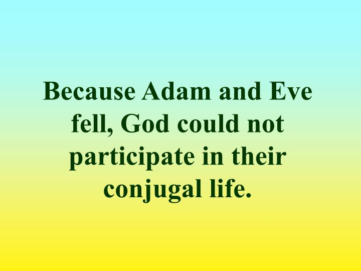 Because Adam and Eve fell, God could not participate in their conjugal life.