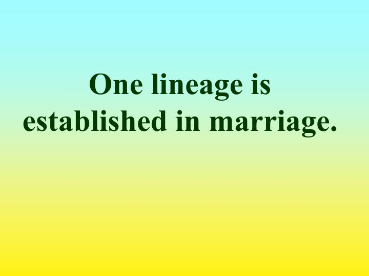 One lineage is established in marriage.