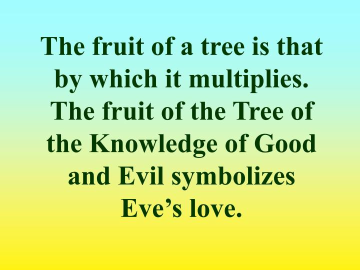 The fruit of a tree is that by which it multiplies. The fruit of the Tree of the Knowledge of Good and Evil symbolizes Eve's love.