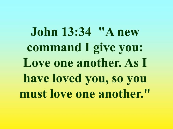 "John 13:34  ""A new command I give you: Love one another. As I have loved you, so you must love one another."""