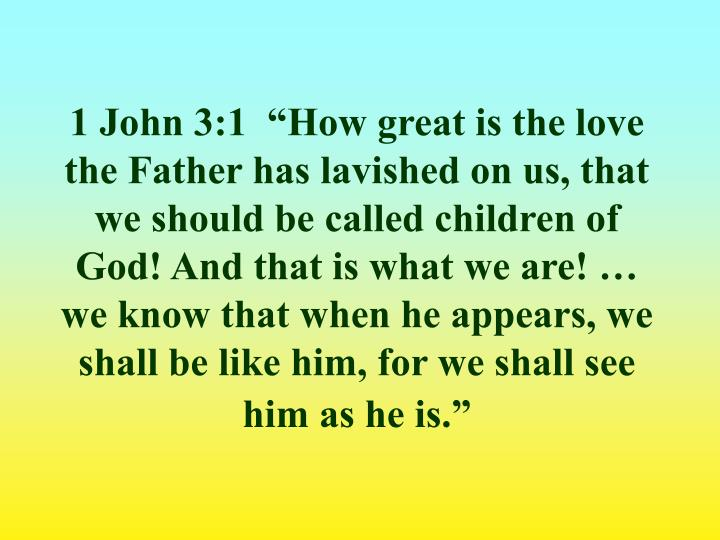 "1 John 3:1  ""How great is the love the Father has lavished on us, that we should be called children of God! And that is what we are! … we know that when he appears, we shall be like him, for we shall see him as he is."""