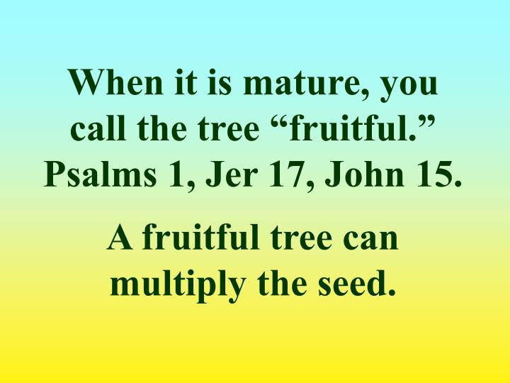 "When it is mature, you call the tree ""fruitful."""
