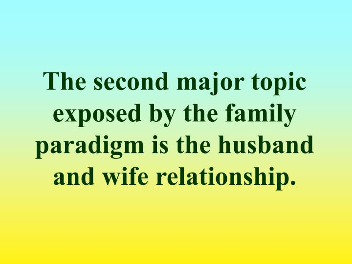The second major topic exposed by the family paradigm is the husband and wife relationship.