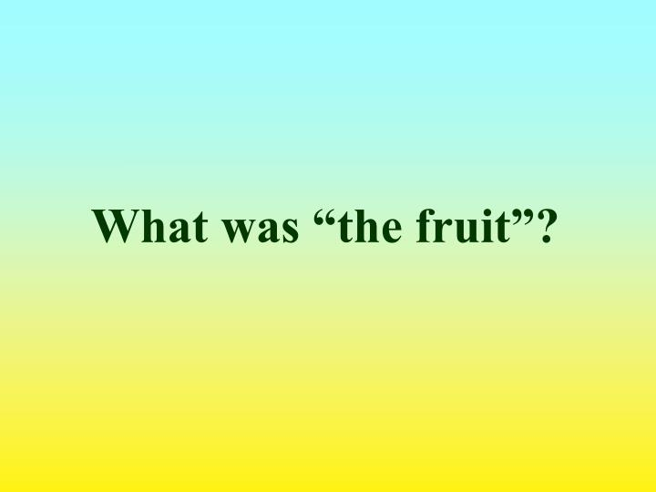 "What was ""the fruit""?"