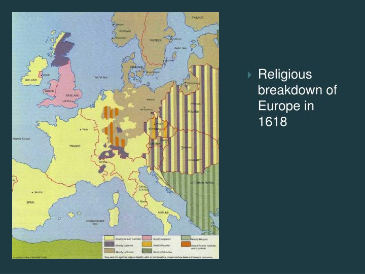Religious breakdown of Europe in 1618