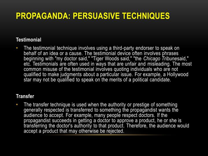 essay on propaganda techniques