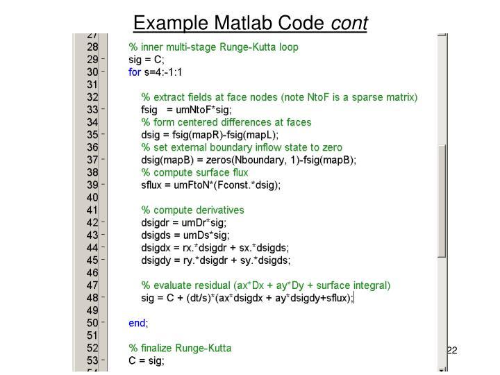 Example Matlab Code