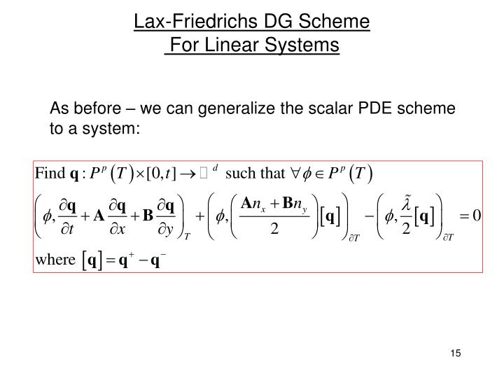 Lax-Friedrichs DG Scheme