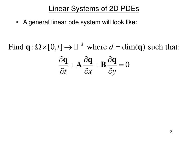 Linear systems of 2d pdes