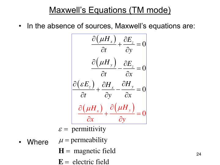 Maxwell's Equations (TM mode)