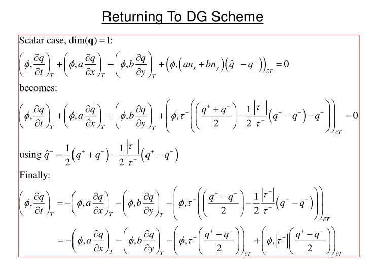 Returning To DG Scheme