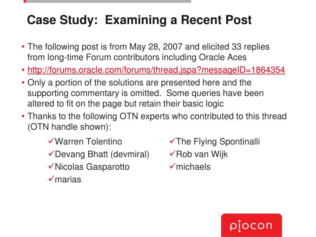 Case Study:  Examining a Recent Post