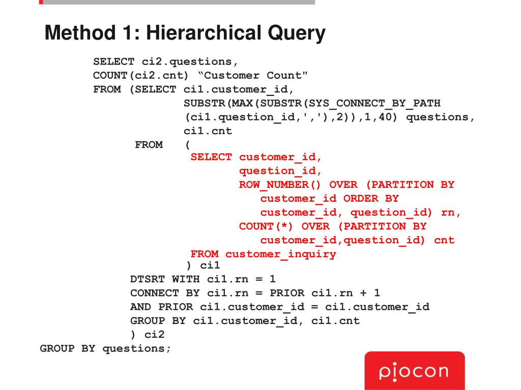 Method 1: Hierarchical Query
