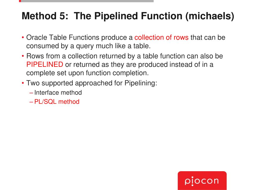 Method 5:  The Pipelined Function (michaels)