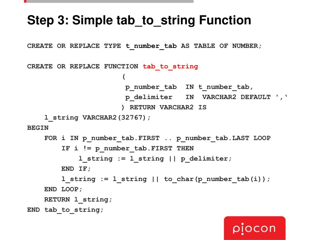 Step 3: Simple tab_to_string Function