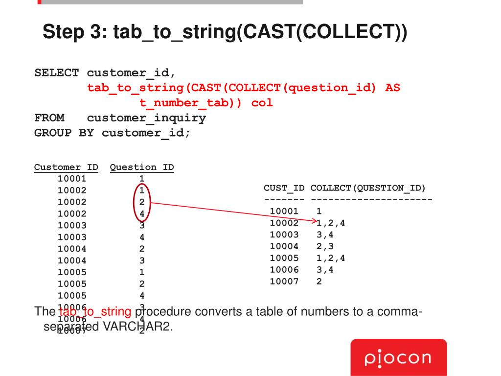 Step 3: tab_to_string(CAST(COLLECT))