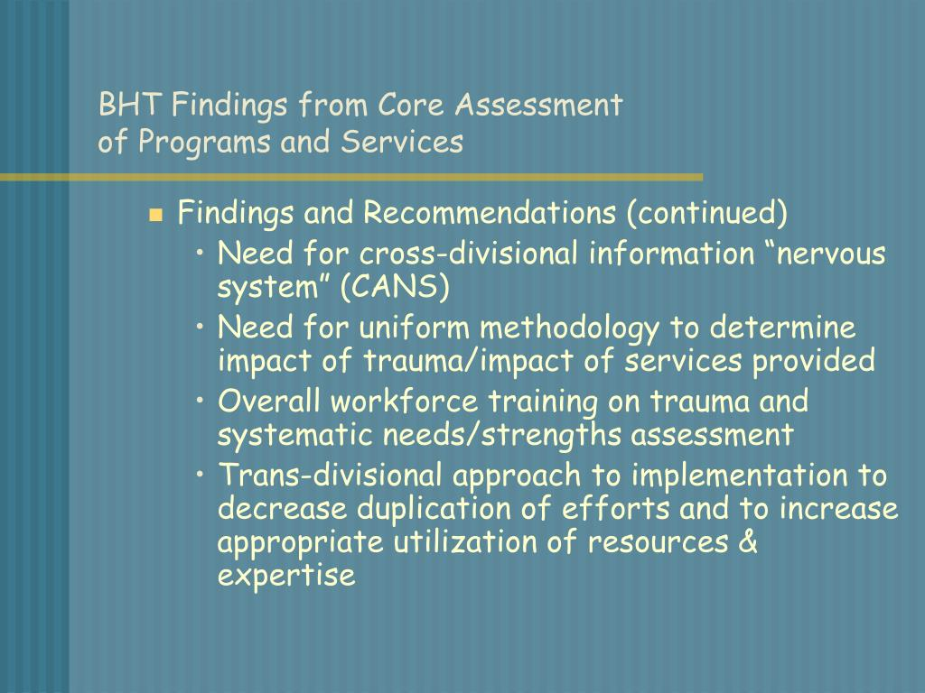 BHT Findings from Core Assessment