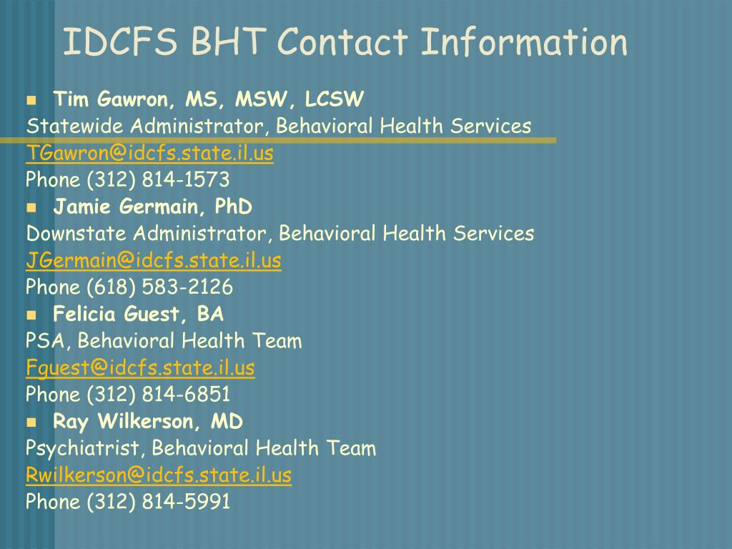 IDCFS BHT Contact Information