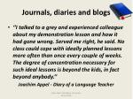 journals diaries and blogs