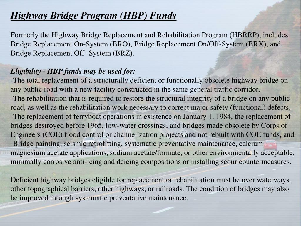 Highway Bridge Program (HBP) Funds
