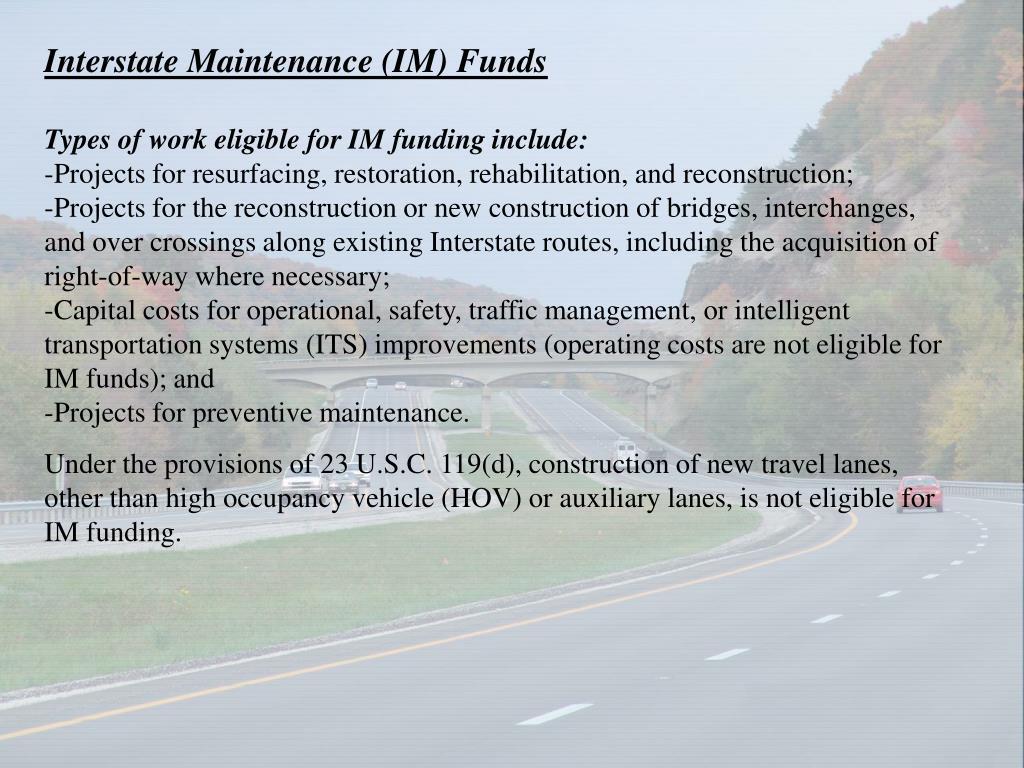 Interstate Maintenance (IM) Funds