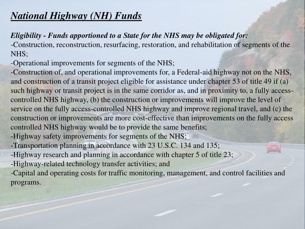 National Highway (NH) Funds