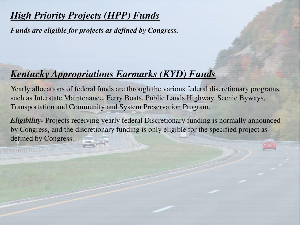 High Priority Projects (HPP) Funds
