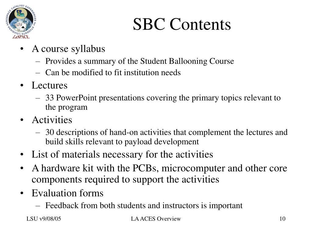 SBC Contents