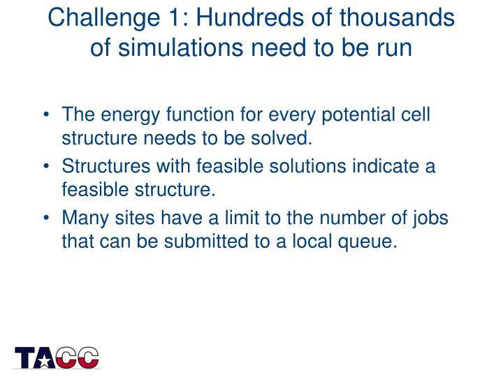 Challenge 1: Hundreds of thousands of simulations need to be run