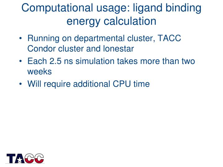 Computational usage: ligand binding energy calculation
