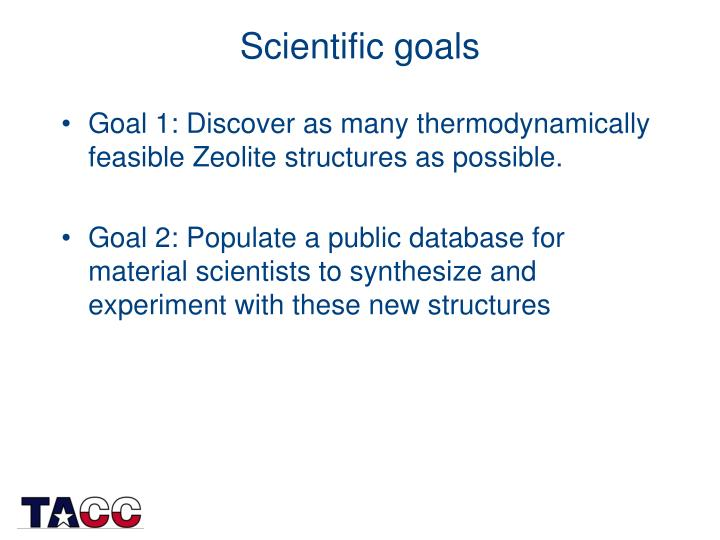 Scientific goals